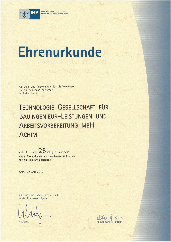 Ehrenurkunde der IHK - 25 Jahre Technologie